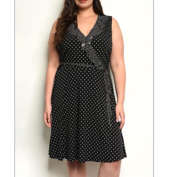 Plus Size Professional Dress Black White Polka Dot Boutique